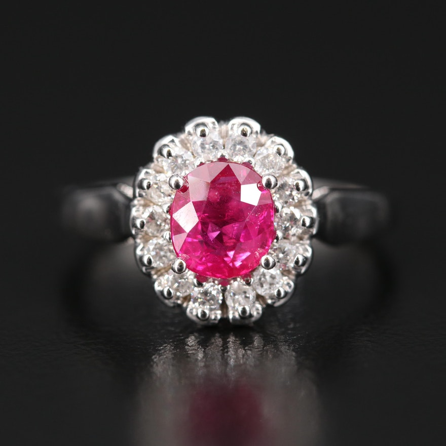 14K 1.18 CT Ruby and Diamond Ring