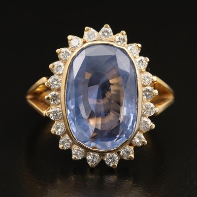 14K Unheated Sri Lankan Sapphire and Diamond Ring with GIA Report