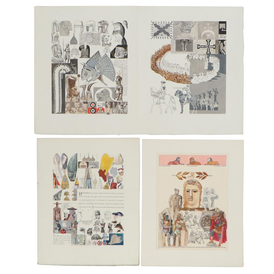 Ink and Gouache Book Illustrations and Text, Early to Mid 20th Century