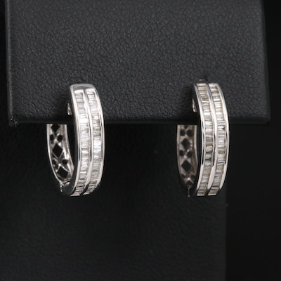 14K Diamond Double Row Huggie Earrings