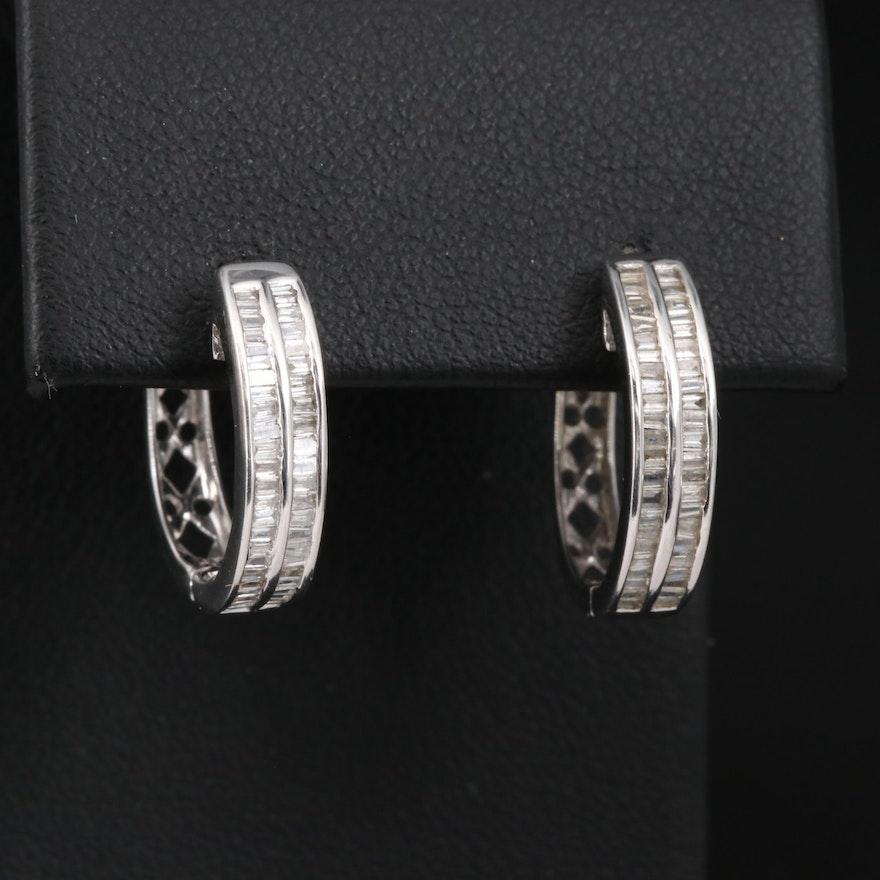 14K Diamond Double Row Huggie Earrings