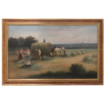 American School Oil Painting of Genre Farm Scene, Early 20th Century