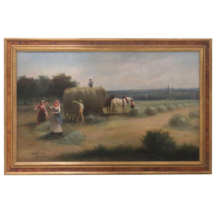 American School Oil Painting of Genre Farm Scene, Early 20th Century
