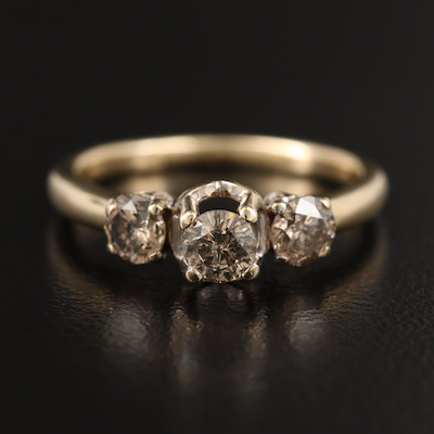 10K Diamond Three Stone Ring