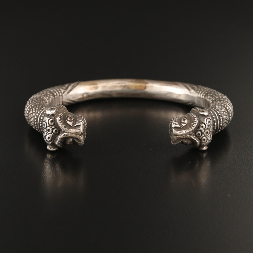 Northern Indian  Indo-Scythian Style Sterling Double Headed Lion Cuff