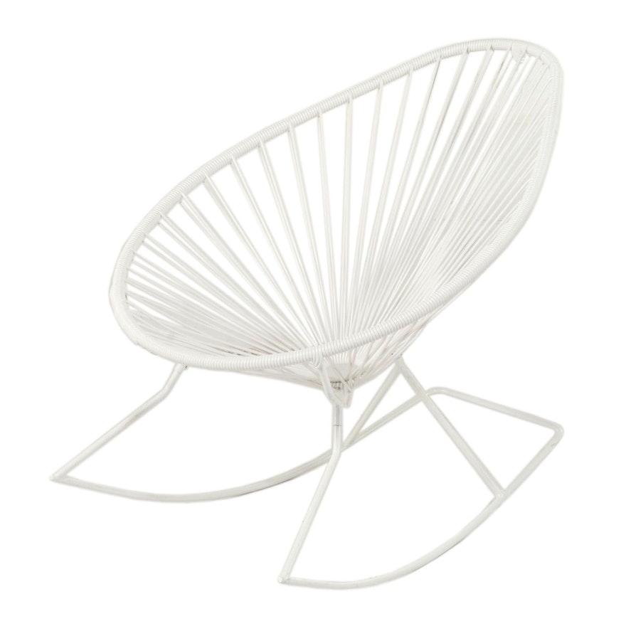 "Innit Designs Modernist Style ""Acapulco"" Steel and Vinyl Cord Rocking Chair"