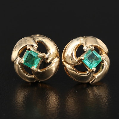14K Emerald Stud Earrings with Twisting Design