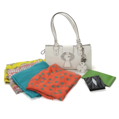 Guess Leather Shoulder Bag with Kate Spade Sunglasses Case and Printed Scarves
