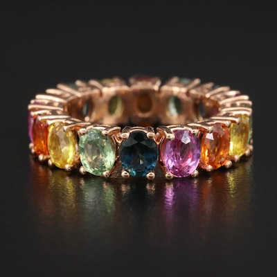 14K Multi-Colored Sapphire Eternity Band