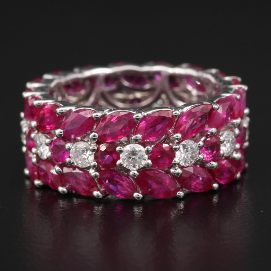 14K Diamond and Ruby Eternity Band