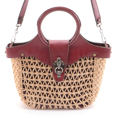 Etienne Aigner Ring Handle Two-Way Purse in Oxblood Leather and Woven Jute