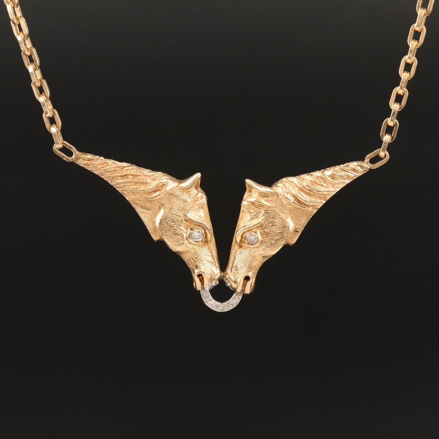Kamm Gallery 14K Diamond Horse Necklace