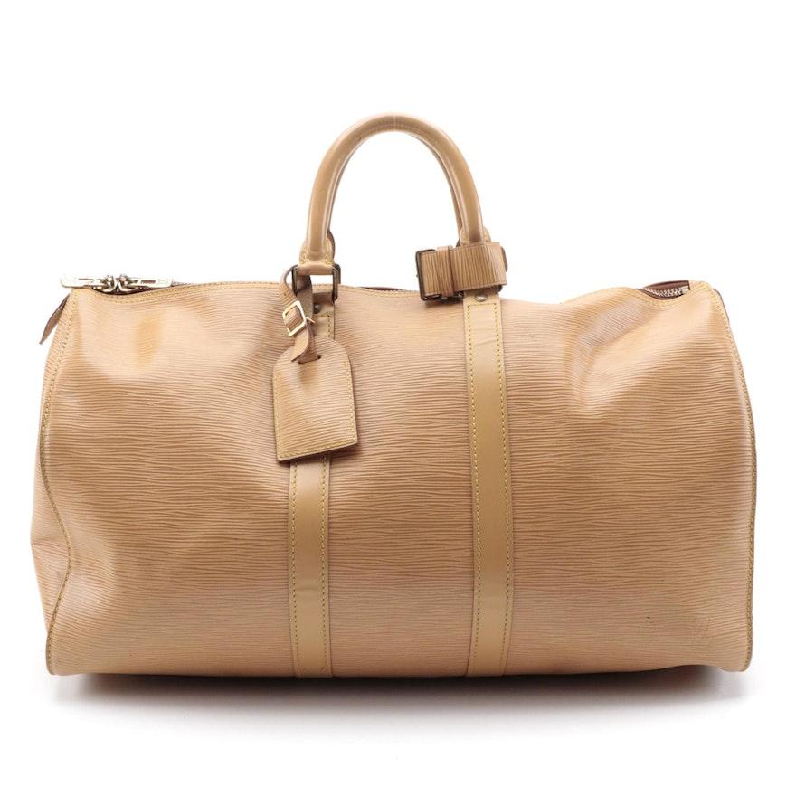 Modified Louis Vuitton Keepall 45 in Winnipeg Sable Epi Leather