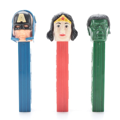 "PEZ ""Captain America"", ""Wonder Woman"" and ""Hulk"" with No Feet Dispensers"