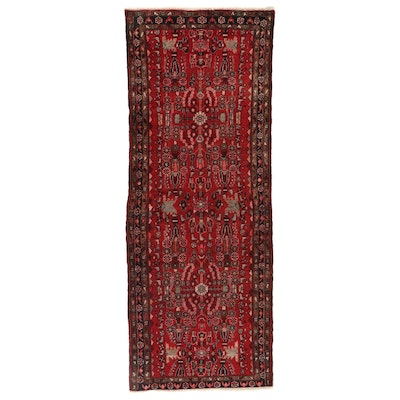 3'10 x 9'10 Hand-Knotted Persian Lilihan Wool Long Rug, circa 1960s
