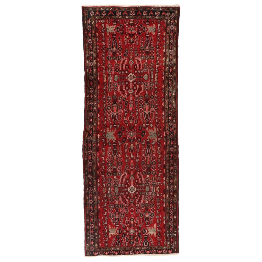 3'10 x 9'10 Hand-Knotted Persian Lilihan Wool Long Rug, circa 1960s