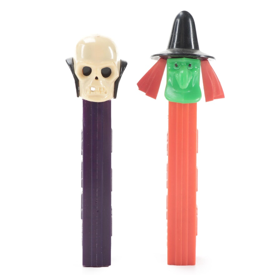 """PEZ """"Skull"""" and """"Witch"""" Halloween Candy Dispensers with No Feet"""