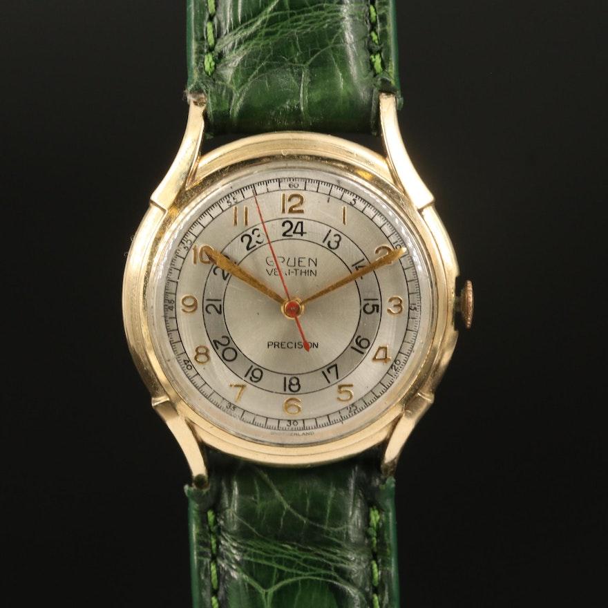 Gruen Veri-Thin Precision 14K Gold Wristwatch