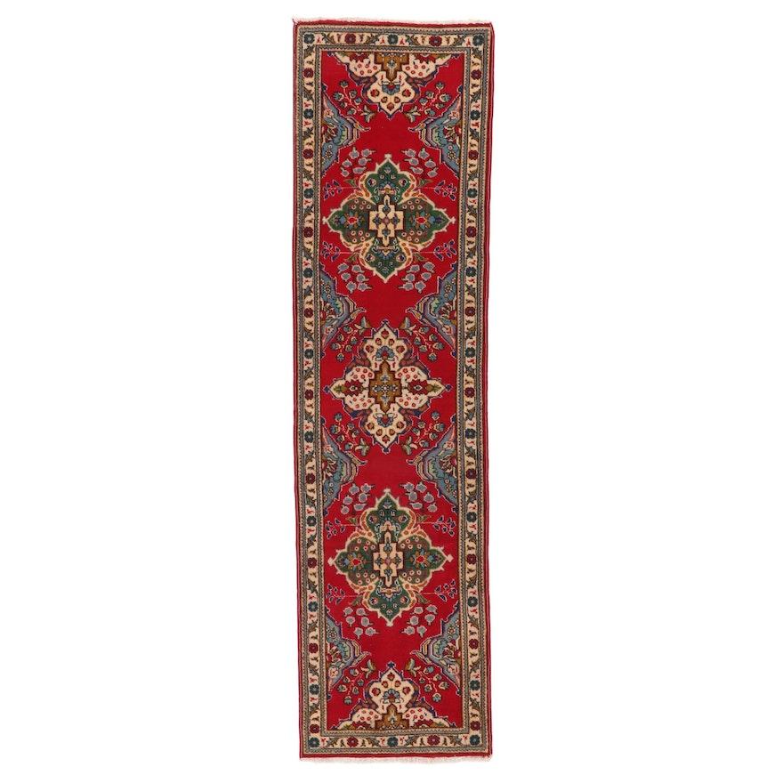 2'8 x 10'3 Hand-Knotted Persian Tabriz Wool Carpet Runner, circa 1970s