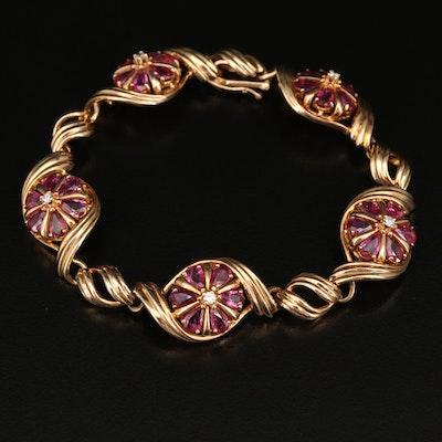 Franklin Mint 14K Diamond and Ruby Floral Themed Bracelet