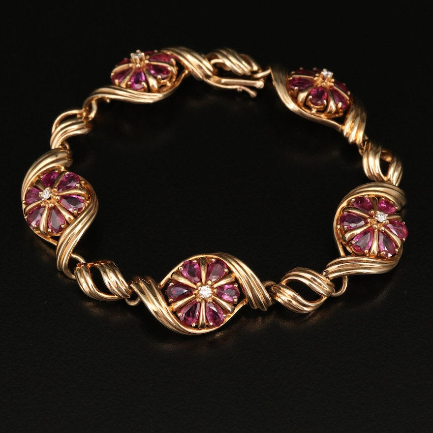 Franklin Mint 14K Diamond and Ruby Floral Themed Bracelet