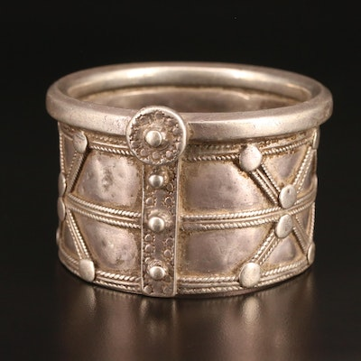 Vintage Indian Sterling Silver Tribal Bangle From Gujarat Region