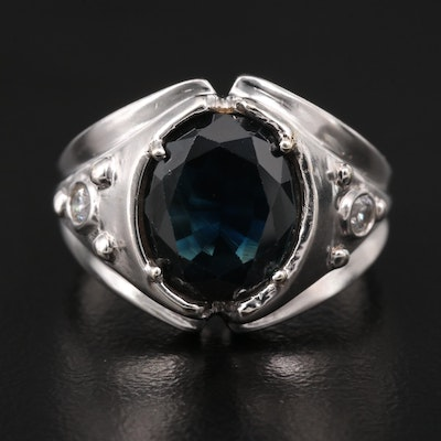 14K 3.20 CT Sapphire and Cubic Zirconia Ring