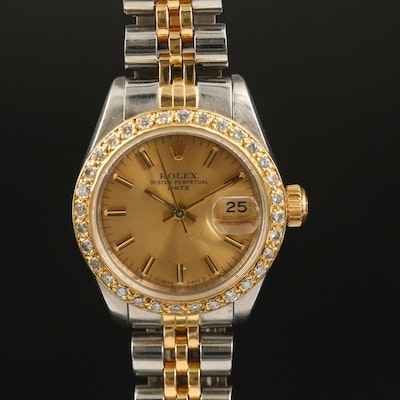 1985 Rolex Date Diamond Bezel 18K Gold and Stainless Steel Automatic Wristwatch