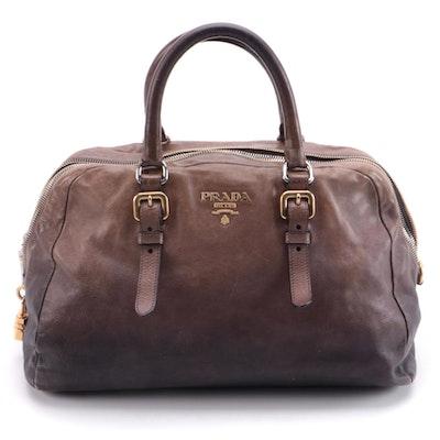Prada Glacé Zipper Bauletto Bag BL0471 in Ardesia/Fumo Ombré Leather