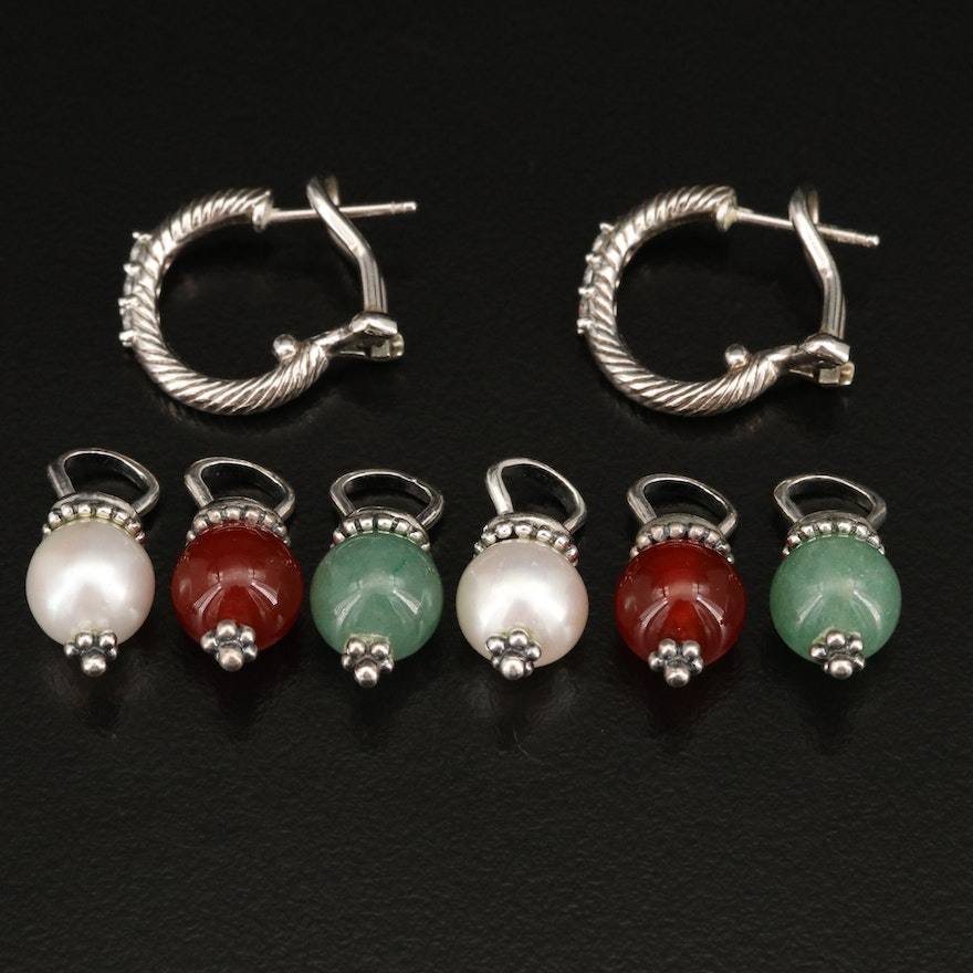 Judith Ripka Sterling Hoop Earrings with Gemstone Dangles