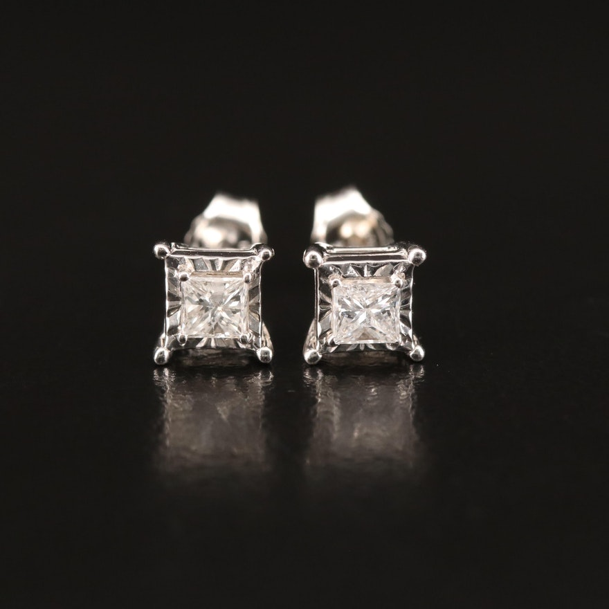 Sterling 0.34 CTW Diamond Stud Earrings