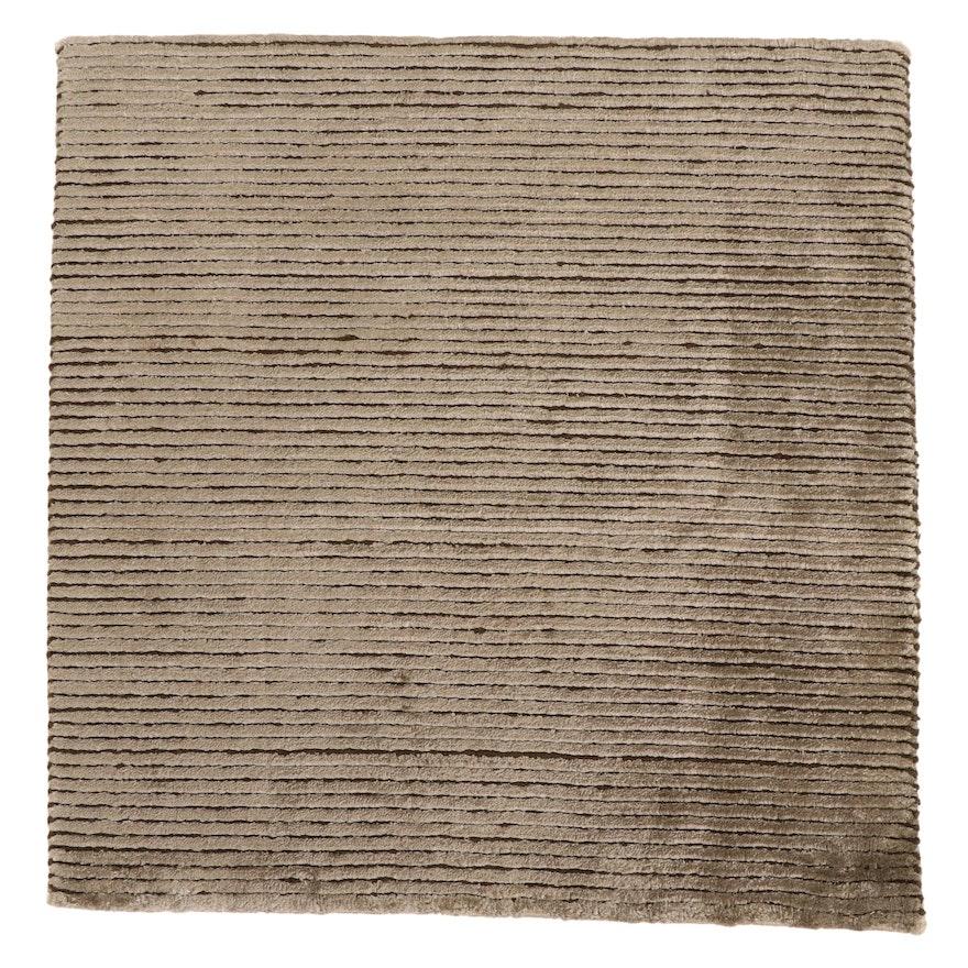 2'1 x 2'1 Hand-Knotted Tibetan Modern Style Silk Blend Floor Mat