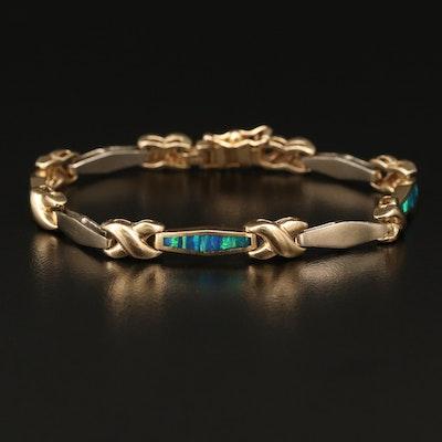14K Opal Inlay Link Bracelet