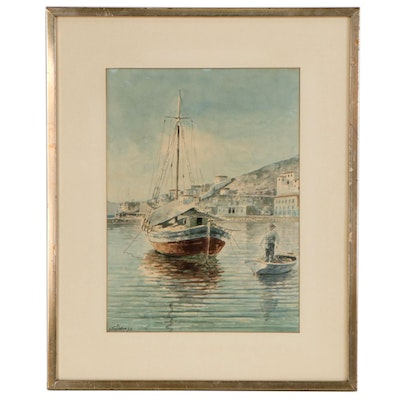 Konstantinos Sofianopoulos Watercolor Painting of Anchored Ship