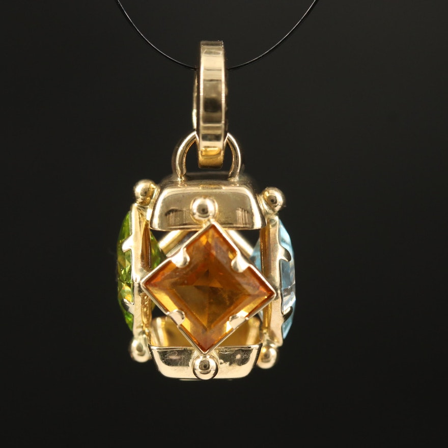 Italian 14K Citrine, Topaz and Glass Openwork Pendant