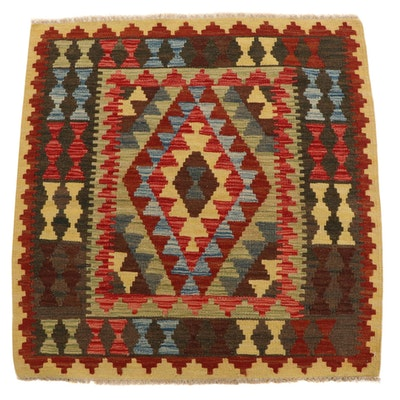 3'4 x 3'5 Handwoven Afghan Kilim Accent Rug
