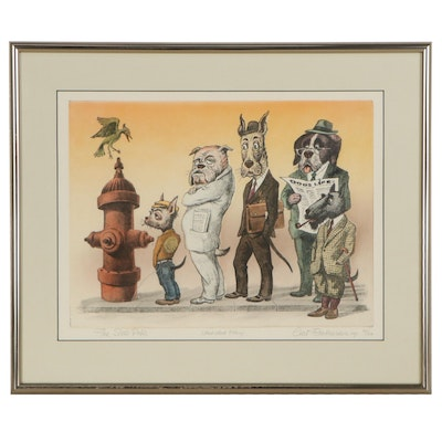 "Curt Frankenstein Hand-Colored Etching ""The Slow-Poke,"" Late 20th Century"