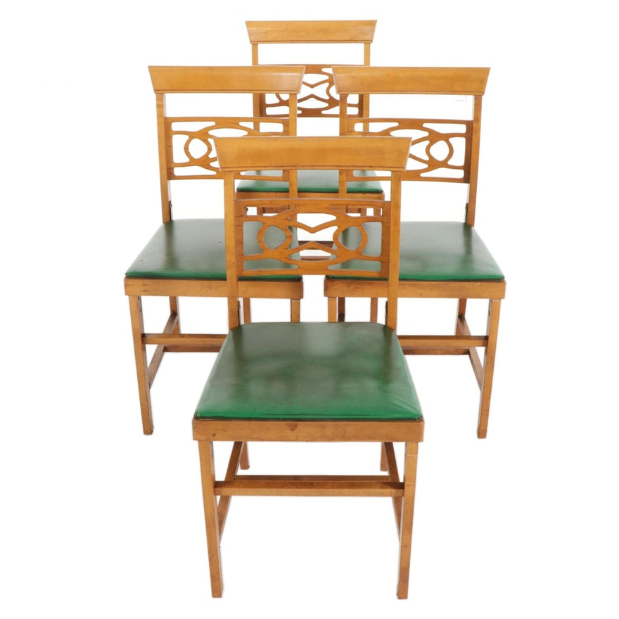 Norquist Coronet Folding Wooden Chairs, Set of Four, Mid-20th Century