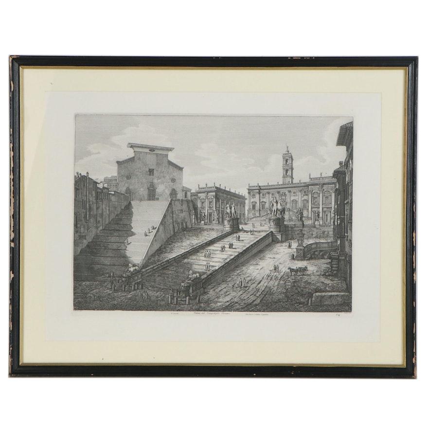 """Restrike Etching after Luigi Rossini """"Veduta del Campidoglio Romano"""""""