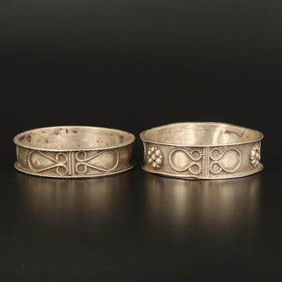 Vintage Mughal Indian Sterling and 800 Silver Tribal Bangles