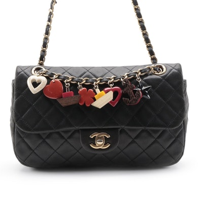 Chanel Quilted Cruise Charm Single Flap Bag in Black Lambskin Leather