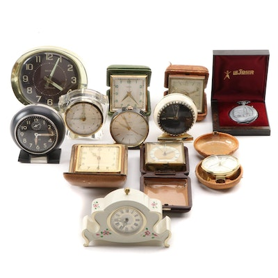 Bed Side and Travel Alarm Clock with LeJour Pocket Watch, Mid-Late 20th Century