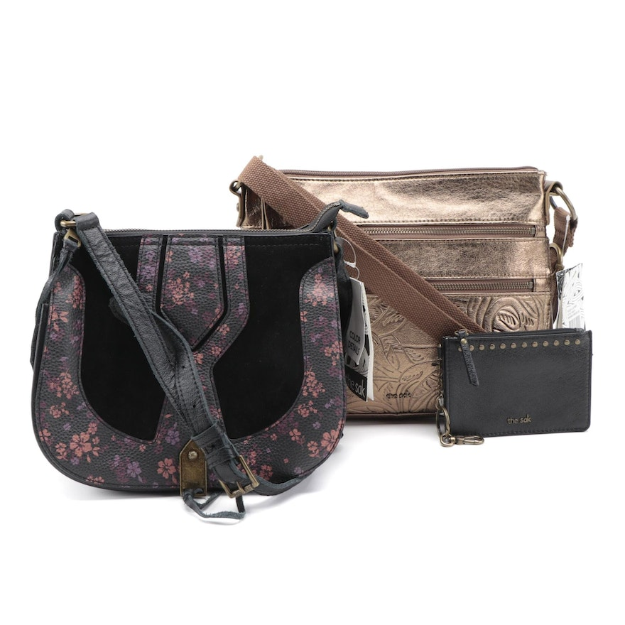 The Sak Lea Shoulder Bag in Bronze Leather and Floral Crossbody Bag with Wallet