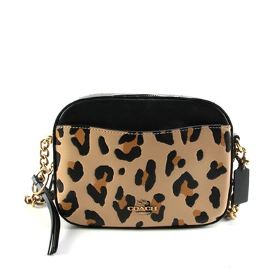 Coach Black and Leopard Print Leather Shoulder Bag