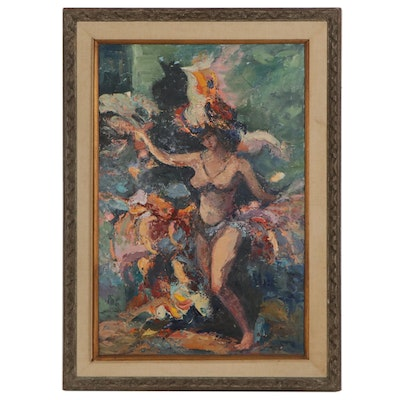 "Sarah Gelfound Oil Painting ""Follies Girl,"" Mid-20th Century"