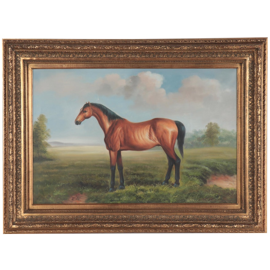 Oil Painting of Horse in Landscape, 21st Century
