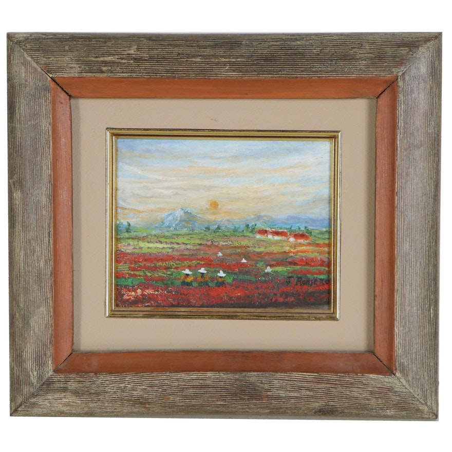 Landscape Oil Painting with Field of Flowers, Late 20th Century