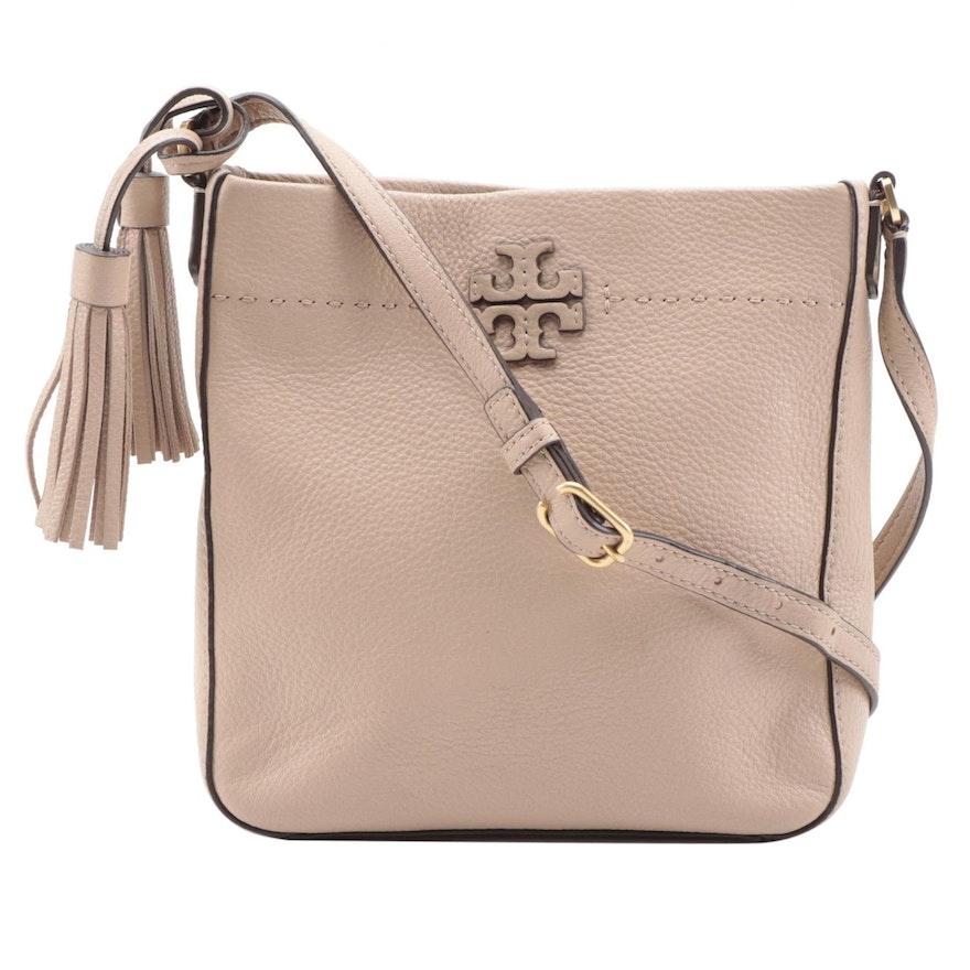 Tory Burch McGraw Swingpack Tassel Crossbody Bag in Taupe Pebble Grain Leather