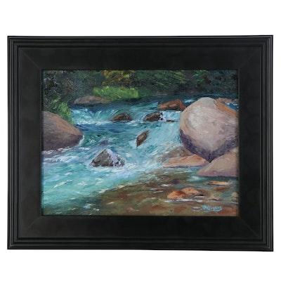 "James Baldoumas Oil Painting ""River's Edge,"" 2021"