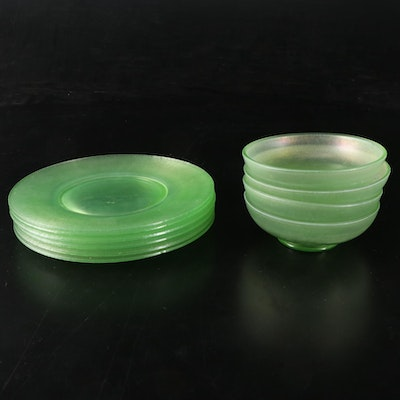 Northwood Iridescent Stretch Glass Plates and Bowls, Early to Mid-20th Century